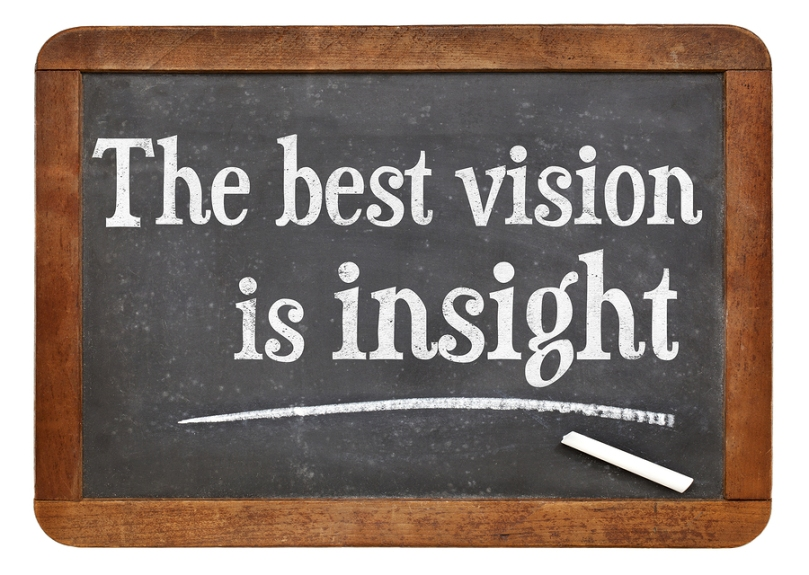 the best vision is insight phrase  on a vintage slate blackboard