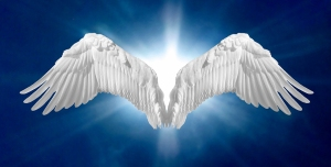 Pair of angel wings on heavenly blue background