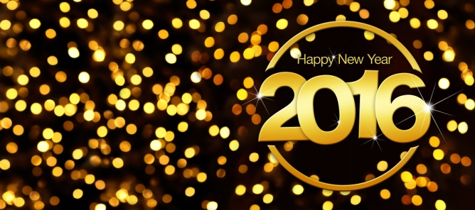 happy new year 2016 golden text in lights glitter background