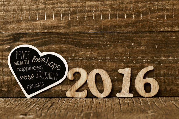 wooden numbers forming the number 2016 and a heart-shaped chalkb